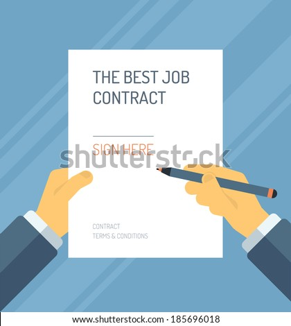 Flat design style modern vector illustration concept of business person signing employment contract form with the best terms and conditions for career. Isolated on stylish color background.  - stock vector