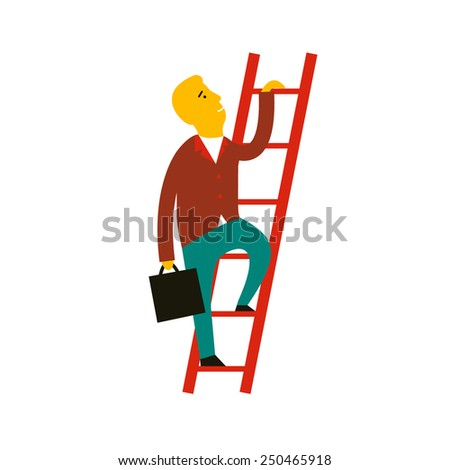 Flat design style modern vector illustration concept of cartoon man climbing the staircase to success and progress, winner performance and personal career improvement. Isolated on white background - stock vector