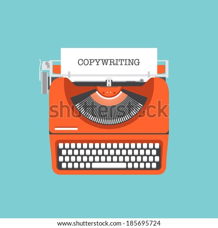 Flat design style modern vector illustration concept of copywriting marketing information, public relations advertising text, social media campaign blogging for presentation a new product on a market - stock vector