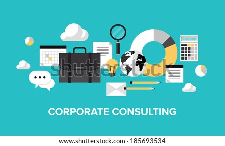 Flat design style modern vector illustration concept of corporate consulting, business management, financial planning, office organization development, professional support and service.  - stock vector
