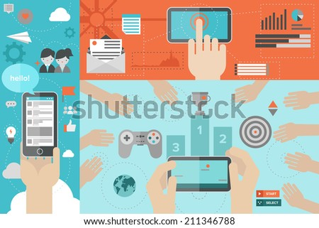 Flat design style modern vector illustration concept of mobile gaming with network friends, smart phone communication, chatting via social media services, using smartphone for mailing and networking - stock vector