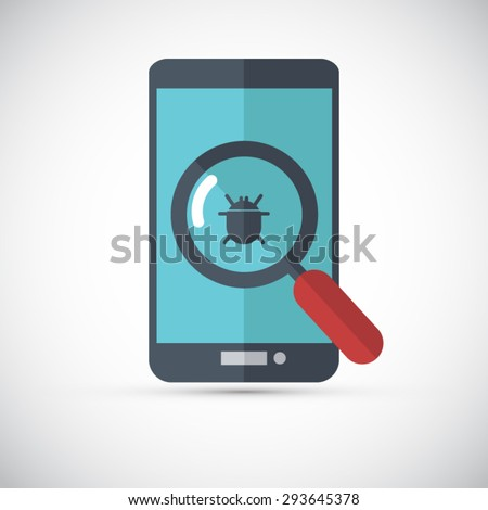 Flat design style modern vector illustration concept of mobile phone with virus alert message. - stock vector