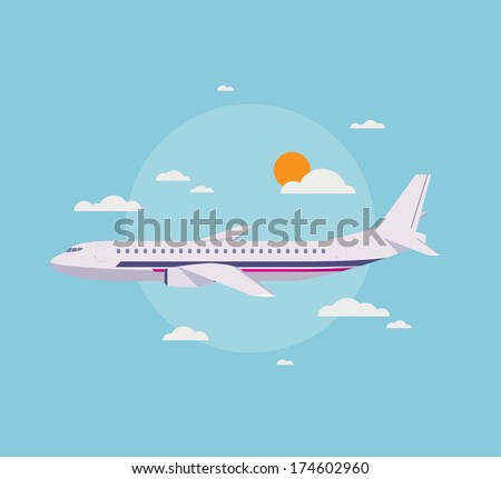 Flat design style modern vector illustration concept of modern detailed airplane flying through clouds in the blue sky. Isolated on stylish background. - stock vector
