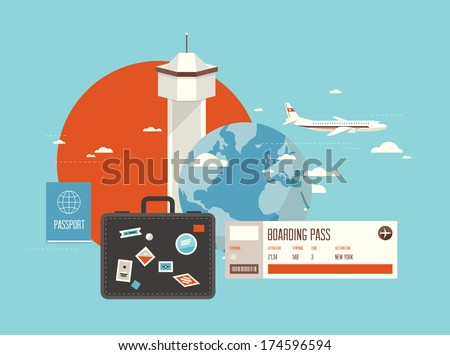 Flat design style modern vector illustration concept of planning a summer vacation, online booking a ticket on a trip, flying a plane to travel destination. Isolated on stylish background. - stock vector