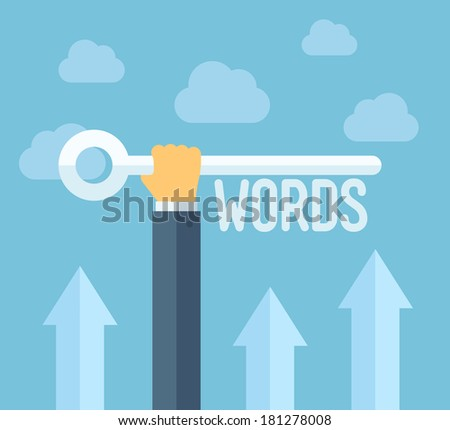 Flat design style modern vector illustration concept of search engine optimization, selecting relevant keywords for success SEO, optimize website for traffic growth and rank result - stock vector