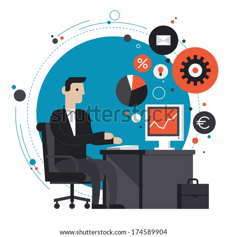 Flat design style modern vector illustration concept of smiling business man in formal suit sitting at the desk and working on computer in the office. Isolated on stylish colored background - stock vector
