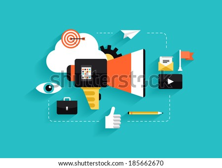 Flat design style modern vector illustration concept of social media marketing, digital marketing, online advertising process, creative business internet strategy and market promotion development. - stock vector
