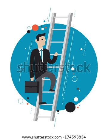 Flat design style modern vector illustration concept of successful businessman climbs upstairs for professional growth, winner performance and personal career improvement. Isolated on white background - stock vector