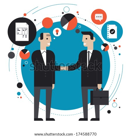 Flat design style modern vector illustration concept of successful partnership, business people cooperation agreement, teamwork solution and handshake of two businessman Isolated on stylish background - stock vector