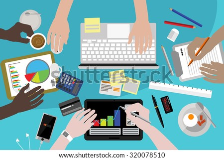 Flat design style modern vector illustration concept of teamwork consulting on briefing, small business project presentation, group of people planning, brainstorming idea of company financial strategy - stock vector