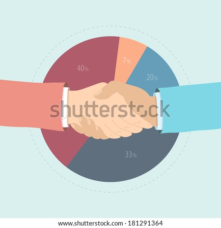 Flat design style modern vector illustration concept of two business people hand shaking, market share agreement, marketing partnership cooperation, financial solution and strategy success. - stock vector