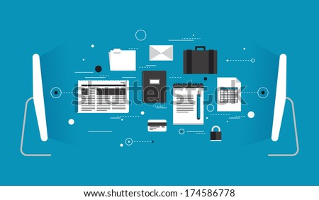 Flat design style modern vector illustration concept of two computers wireless connected and transferring various data information via internet communication. Isolated on stylish colored background. - stock vector