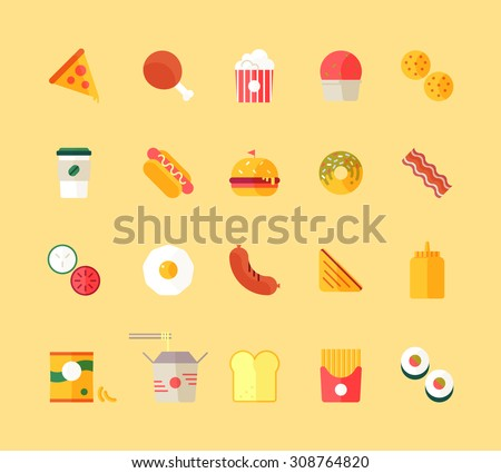 Flat design style modern vector illustration fast food restaurant icons set. Tasty food, meals, confection. Vector isolated illustration. - stock vector