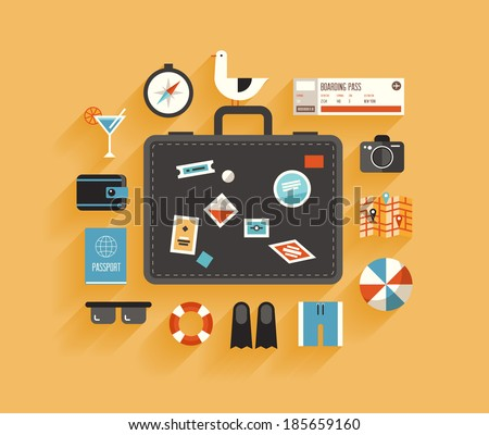 Flat design style modern vector illustration icons set of planning a summer vacation, travelling on holiday journey, tourism and travel objects, passenger luggage. Isolated on stylish color background - stock vector