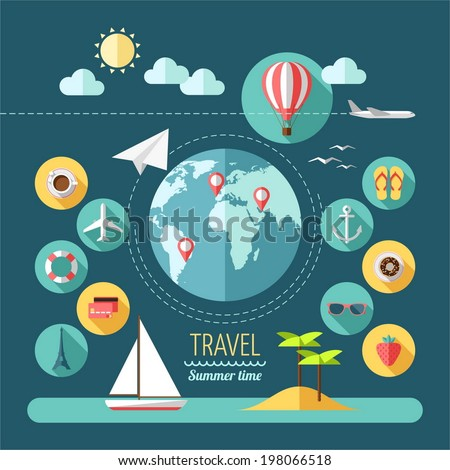 Flat design style modern vector illustration icons set of planning a summer vacation, travelling on holiday journey, tourism and travel objects. - stock vector