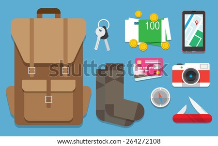 Flat design style modern vector illustration icons set of traveling, objects and passenger luggage. Isolated on background. - stock vector