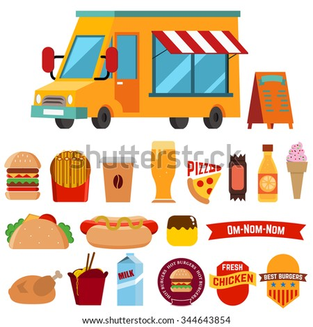 Flat design style modern vector illustration icons set of wagon full of tasty summer food, meals, drinks and fruits. Isolated on white background - stock vector