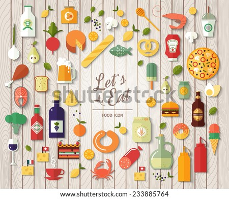 Flat design style modern vector illustration icons set on wood texture. Tasty food, meals, drinks, confection, vegetables and fruits. - stock vector