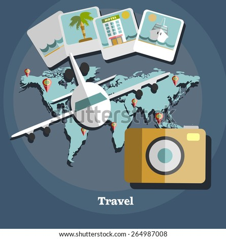 Flat design style modern vector illustration of traveling on airplane. Vector illustration. - stock vector
