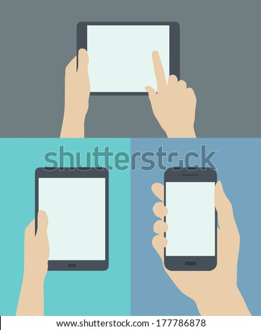 Flat design style modern vector illustration set concept of hand holding digital tablet and mobile phone with blank screen. Isolated on stylish colored background - stock vector