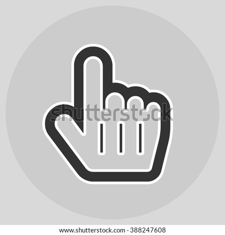 Flat design style. Mouse Pointer Hand For Computer Screen. Hand gesture. Style is flat symbol. Black color.  Silver circle  background. - stock vector