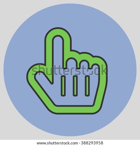 Flat design style. Mouse Pointer Hand For Computer Screen. Hand gesture. Vector illustration with pantone colors of the year 2016 Green Flash and Serenity. - stock vector