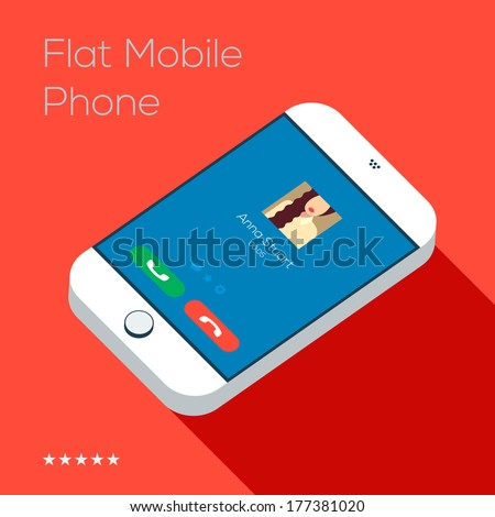 Flat design style of ringing modern smartphone. Isolated on red background. Vector illustration. - stock vector