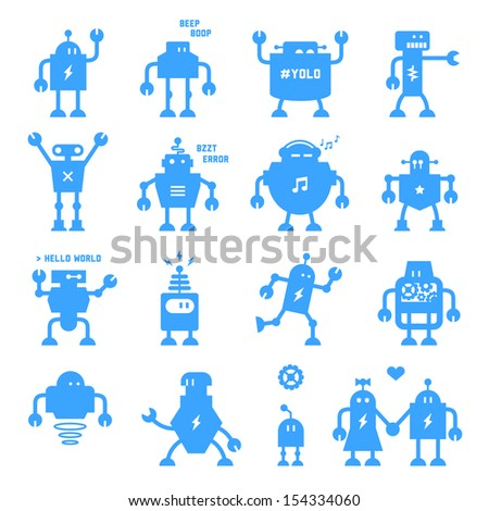 Flat design style robots and cyborgs. Science fiction androids with artificial intelligence. Future technology of machines and computers for customer service and labor jobs. Eps10. - stock vector