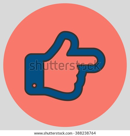 Flat design style. The index finger pointing right. Forefinger pointing to right. Hand gesture. Vector illustration with pantone colors of the year 2016 Snorkel Blue and Peach Echo.