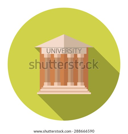 Flat design style vector illustration concept for University building education icon with long shadow. - stock vector