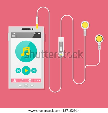 Flat design style vector illustration concept of Smart Phone with headphones, earphones, earpieces, ear flaps. Mobile multimedia application and user interface on the phone screen. - stock vector