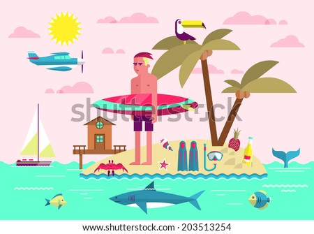 Flat design style vector illustration concept of summer vacation, traveling, tourism, journey, recreation, rest, surfing. Summer holiday flat icons set isolated on stylish background. - stock vector