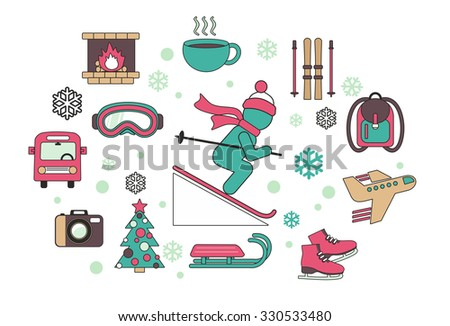 Flat design style vector illustration icons on white background set of planning a winter vacation on holiday journey, tourism and travel objects.