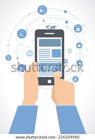 Flat design style vector illustration of  hand holing smart phone with buy button infographic. - stock vector