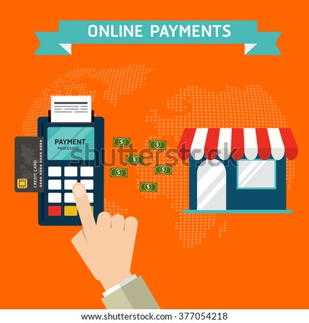 Flat design style vector illustration of modern smartphone or mobile  with processing of mobile payments materials