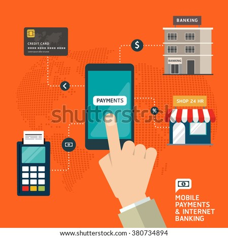 Flat design style vector illustration of modern smartphone with processing of mobile payments and internet banking materials