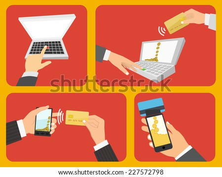 Flat design style vector illustration. Set of business concepts. Isolated on red background - stock vector