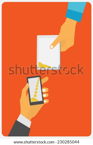 Flat design style vector illustration. Smartphone with processing of mobile payments. Communication technology concept. Isolated on red background - stock vector