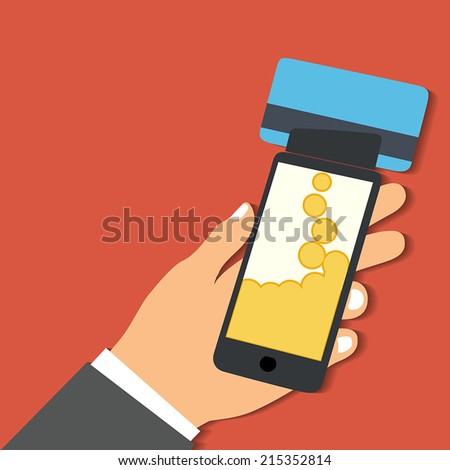 Flat design style vector illustration. Smartphone with processing of mobile payments from credit card. Communication technology concept. Isolated on red background - stock vector