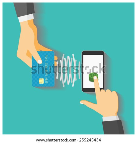 Flat design style vector illustration. Smartphone with processing of mobile payments from credit card. Communication technology concept. Isolated on green background - stock vector
