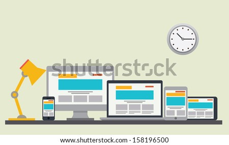 Flat design stylish vector illustration of designer desk with device - stock vector
