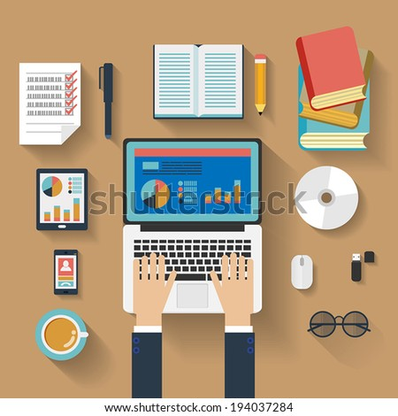 Flat design stylish vector illustration of routine organization of modern business workspace in the office.  - stock vector