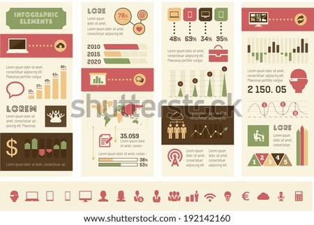 Flat Design Technology Infographic Elements plus Icon Set. Vector. - stock vector