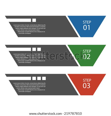 Flat design template / numbered banners / procedure steps.  - stock vector