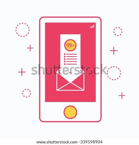 Flat design thin line concept banner for mobile marketing, email marketing, online advertising, vector illustration. - stock vector