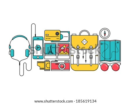 Flat design thin line style modern vector illustration icons set of city trip outdoor objects, tourism and holiday journey equipment, hiker items for travelling. Isolated on white background. - stock vector