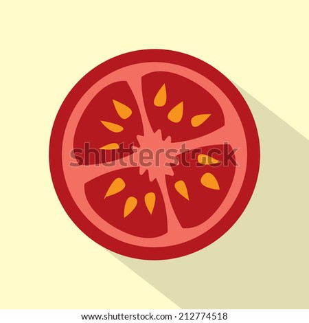 Flat Design Tomato Icon Vector Illustration - stock vector