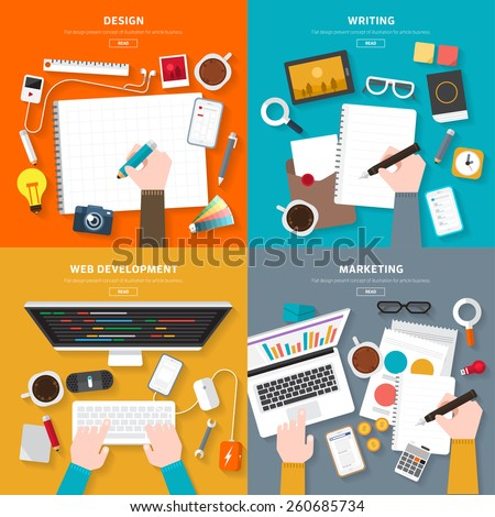 Flat design top view on desk concept Design, Writing, Web Development, Marketing. Vector illustrate for flexible design banner. - stock vector