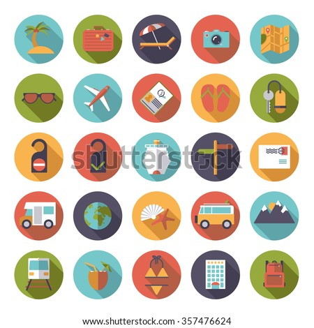 Flat Design Travel and Vacation Round Icon Set. Collection of flat design travel and vacation vector icons in circles - stock vector