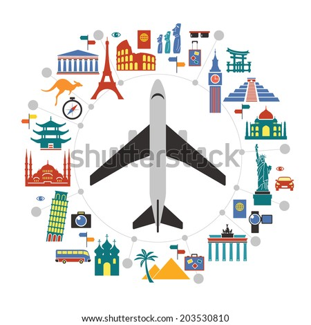 Flat design travel background with landmarks icons and airplane. concept of traveling around the world. Famous international landmarks.  - stock vector